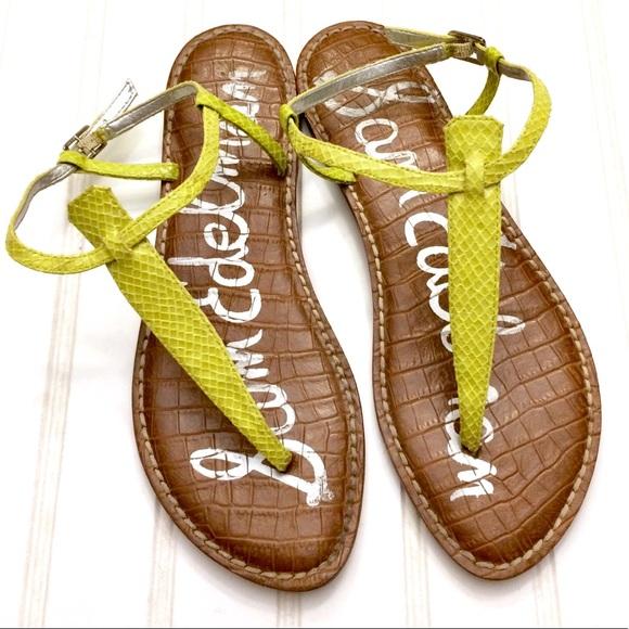 cb9475dbb630ce Sam Edelman Shoes - Sam Edelman citrine snakeskin Gigi t-strap sandals
